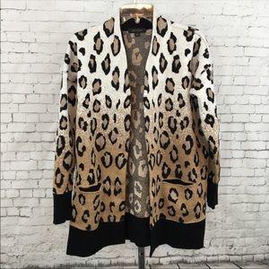 Ann Taylor animal print open cardigan sweater sz S